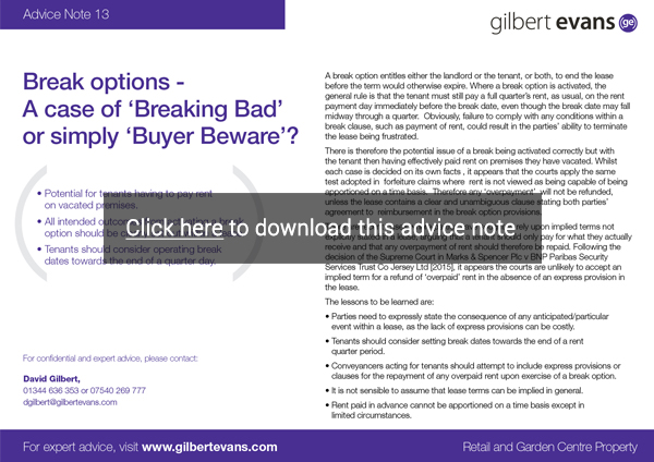 Gilbert Evans Advice-Note 12 May